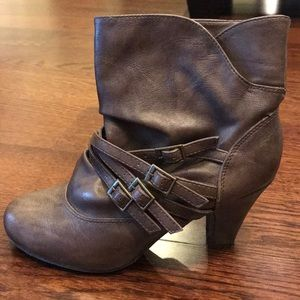 Brown slouch ankle boots